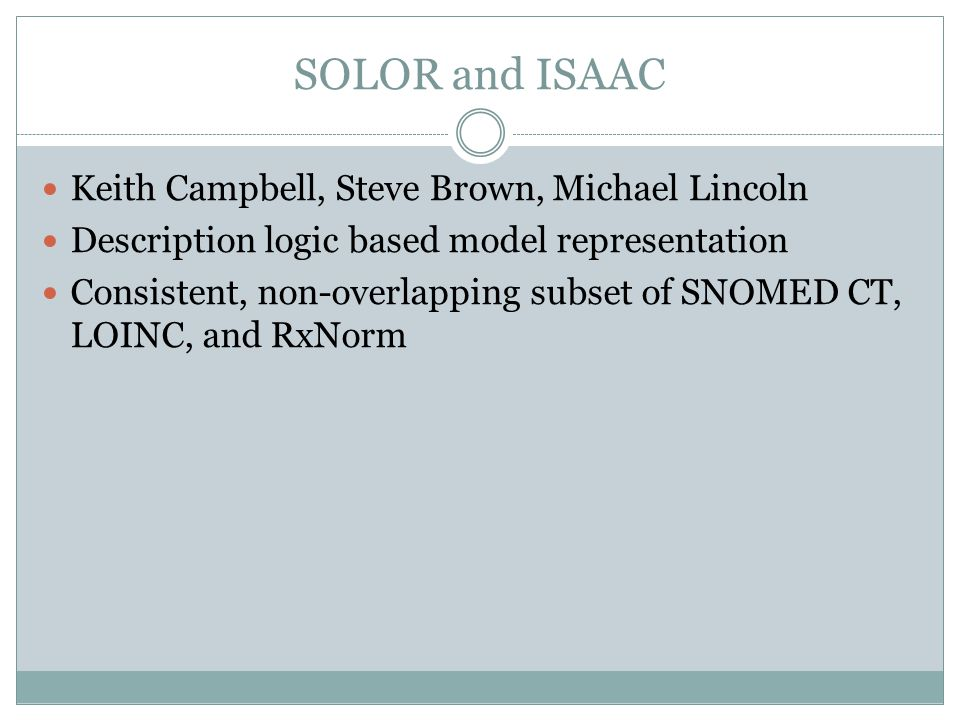 SOLOR and ISAAC Keith Campbell, Steve Brown, Michael Lincoln