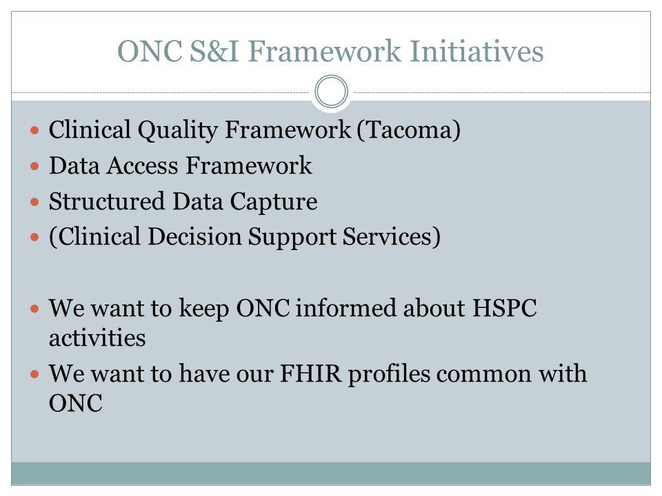 ONC S&I Framework Initiatives