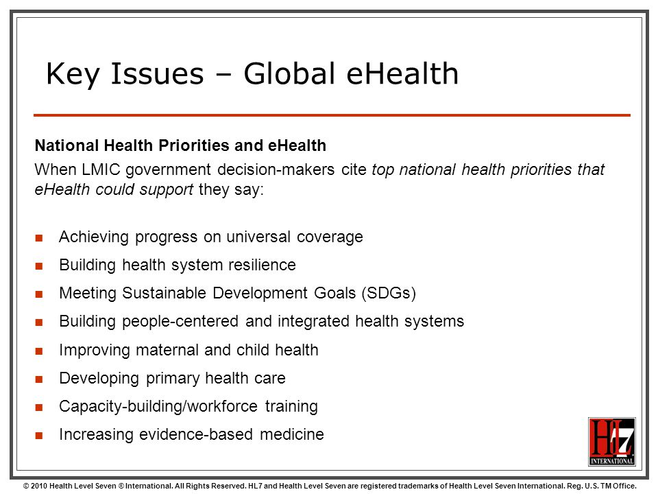 Key Issues – Global eHealth