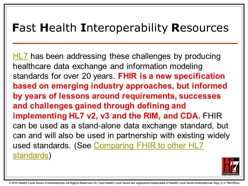 Fast Health Interoperability Resources