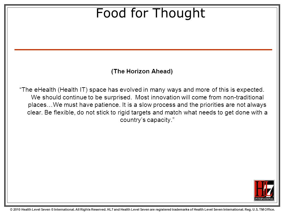 Food for Thought (The Horizon Ahead)