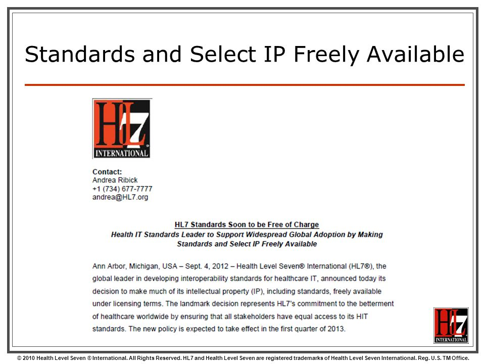 Standards and Select IP Freely Available