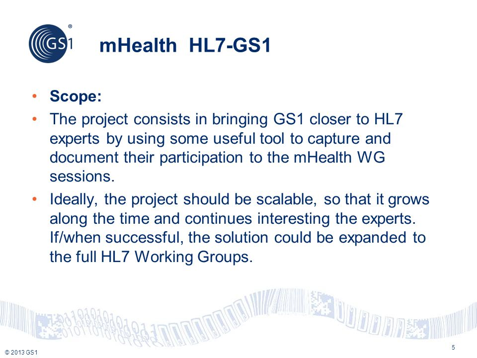 mHealth HL7-GS1 Scope: