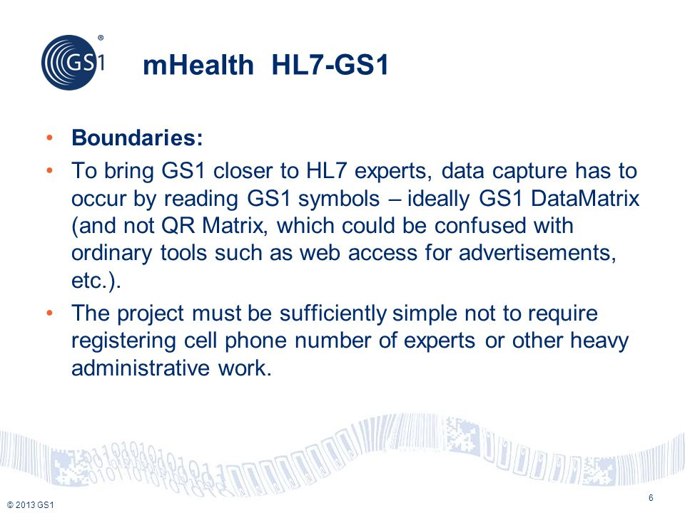 mHealth HL7-GS1 Boundaries: