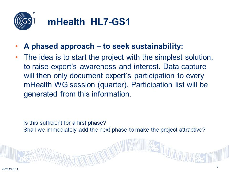 mHealth HL7-GS1 A phased approach – to seek sustainability: