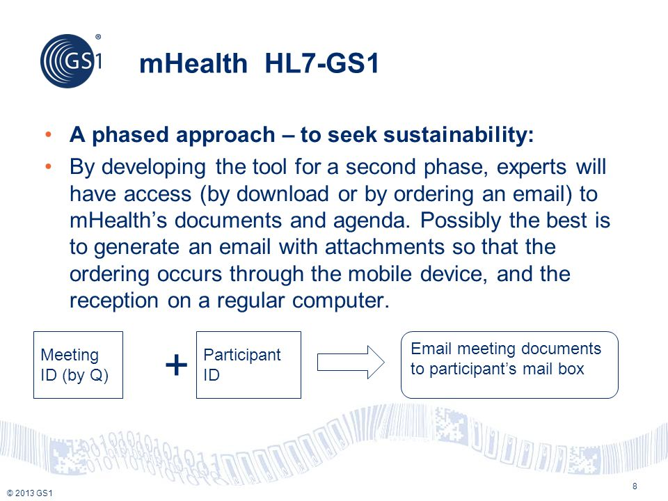 + mHealth HL7-GS1 A phased approach – to seek sustainability: