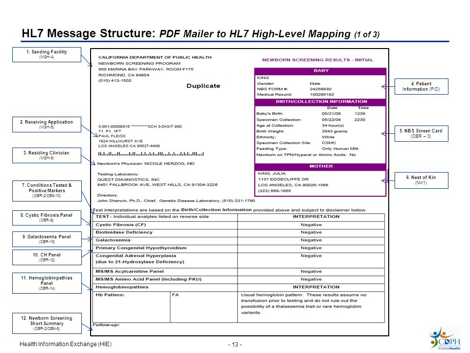 HL7 Message Structure: PDF Mailer to HL7 High-Level Mapping (1 of 3)