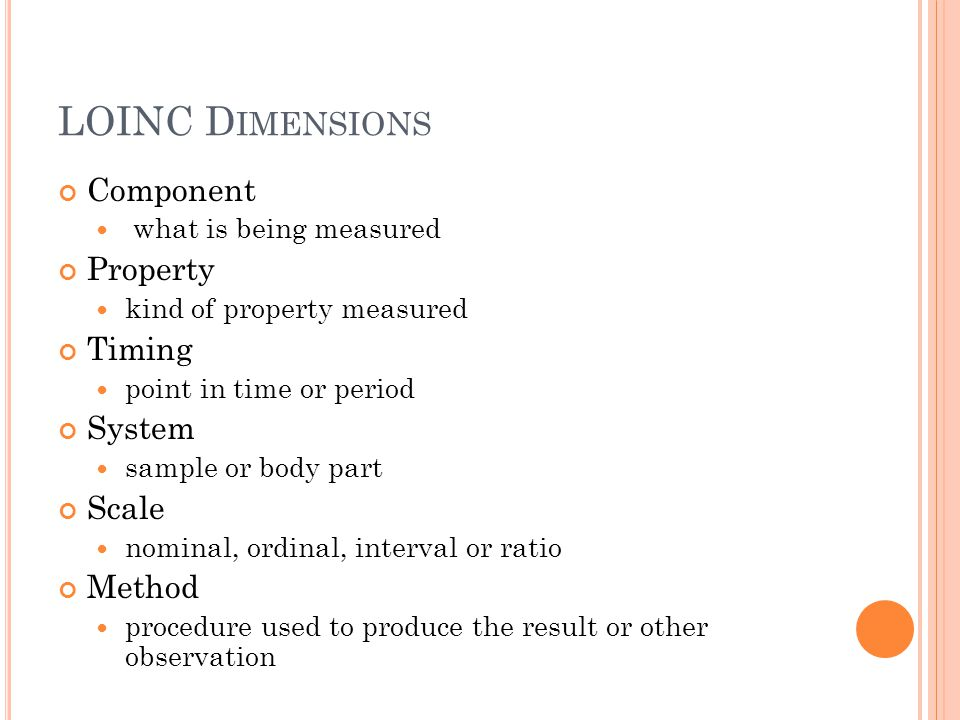 LOINC Dimensions Component Property Timing System Scale Method