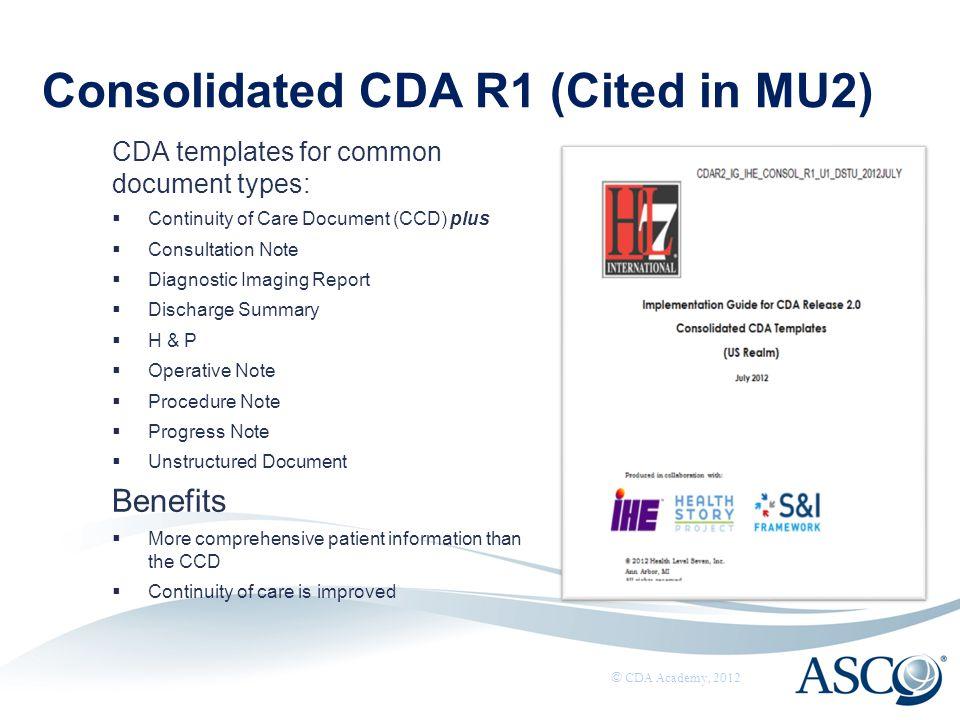 Consolidated CDA R1 (Cited in MU2)