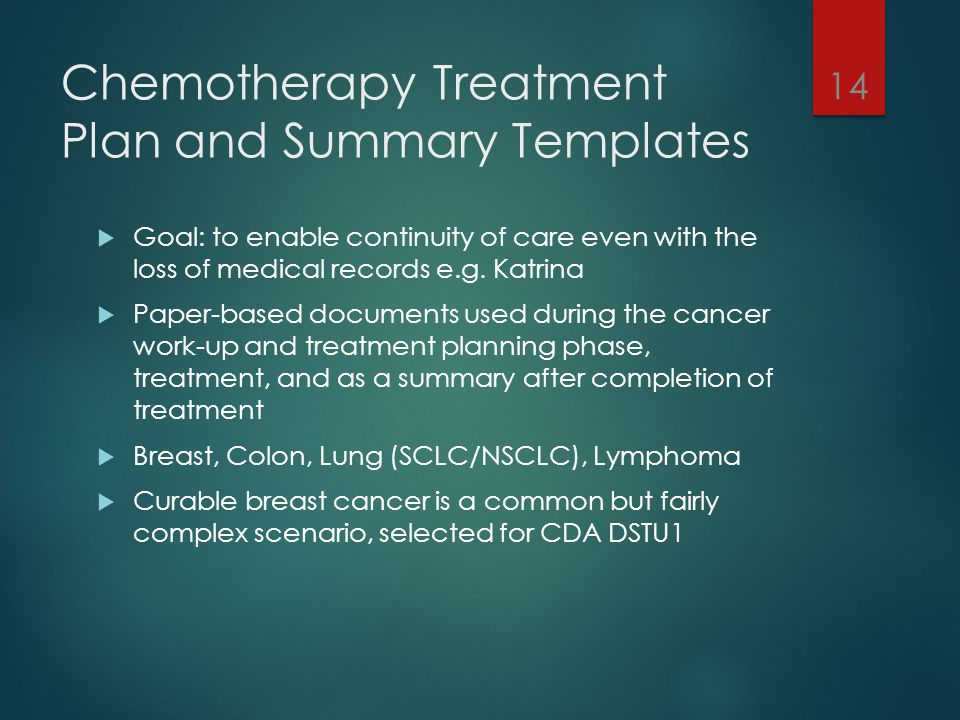 Chemotherapy Treatment Plan and Summary Templates