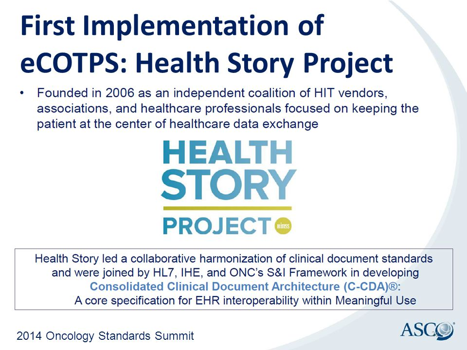 First Implementation of eCOTPS: Health Story Project