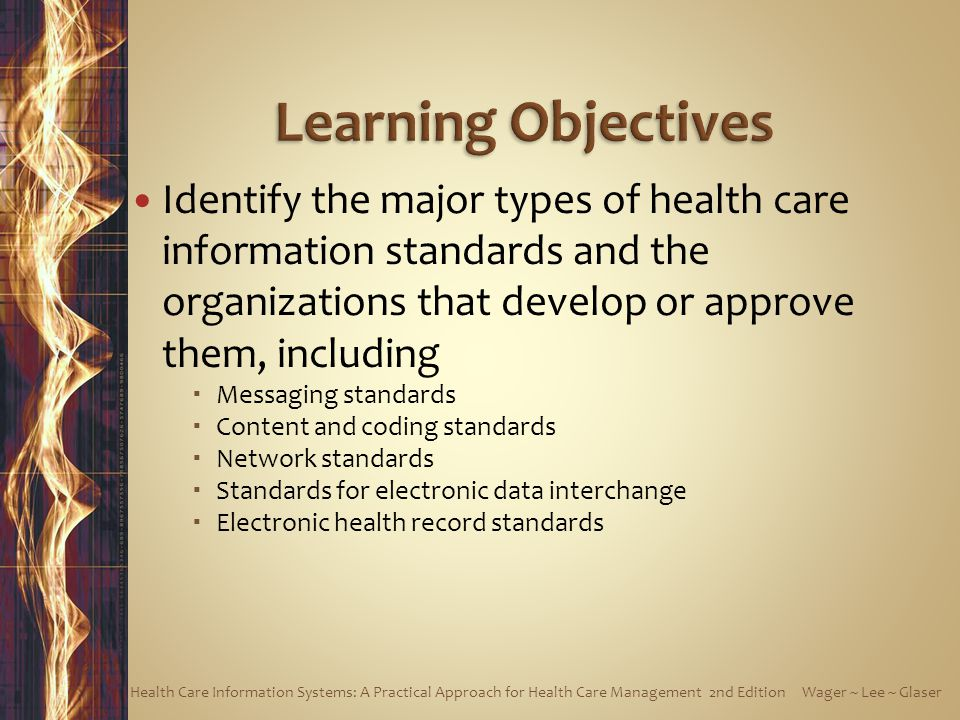 Learning Objectives Identify the major types of health care information standards and the organizations that develop or approve them, including.