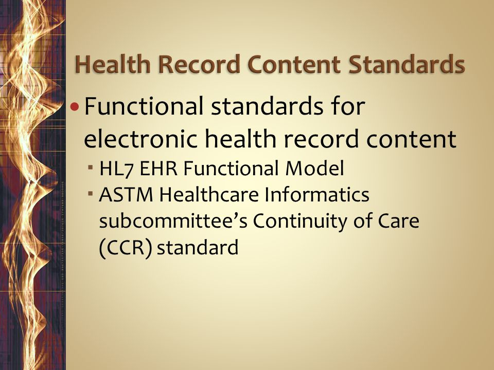 Health Record Content Standards