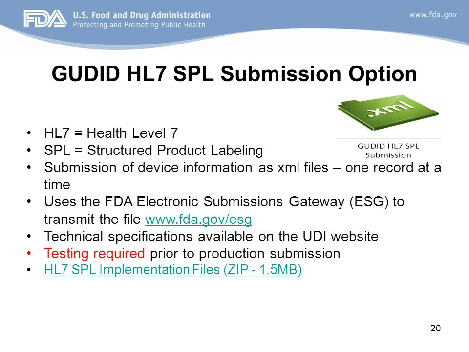 GUDID HL7 SPL Submission Option
