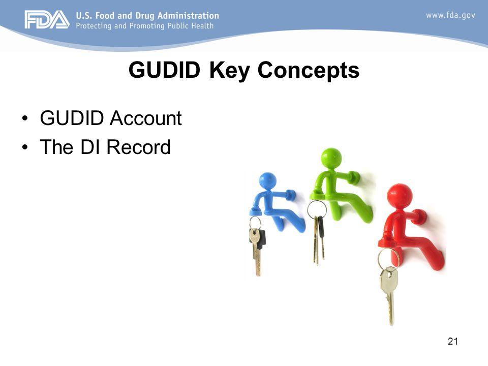 GUDID Key Concepts GUDID Account The DI Record