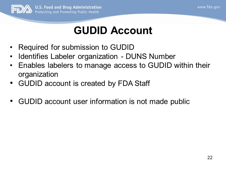 GUDID Account Required for submission to GUDID