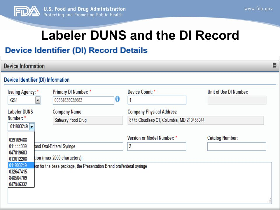 Labeler DUNS and the DI Record