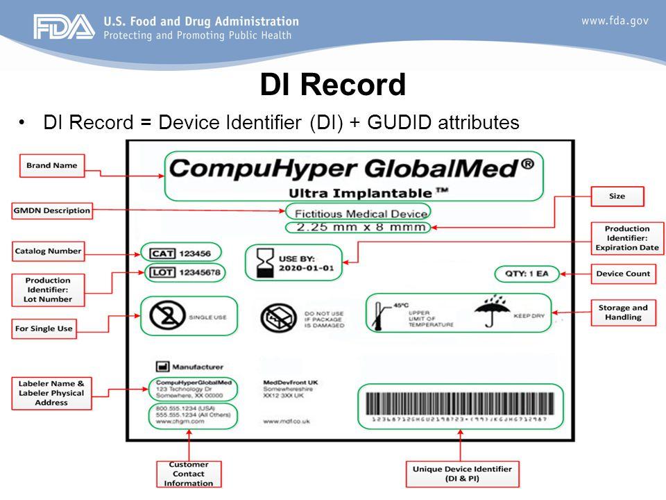 DI Record DI Record = Device Identifier (DI) + GUDID attributes