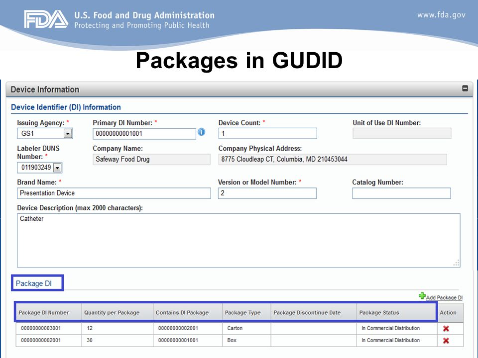 Packages in GUDID