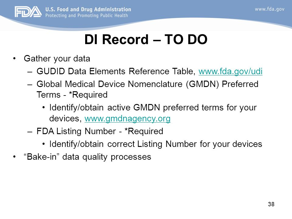 DI Record – TO DO Gather your data