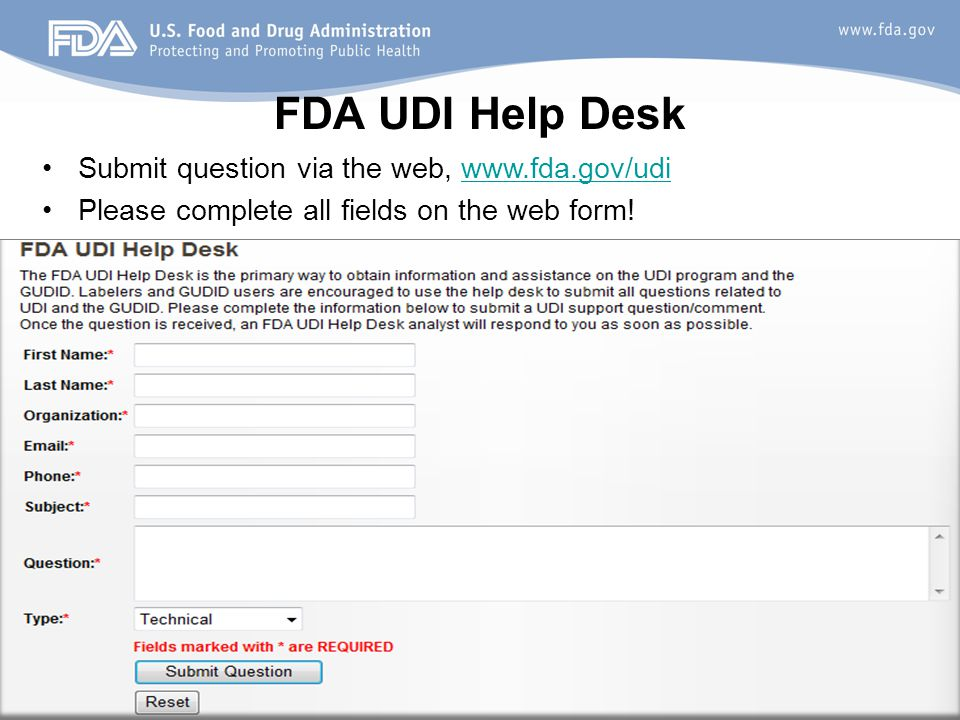 FDA UDI Help Desk Submit question via the web,