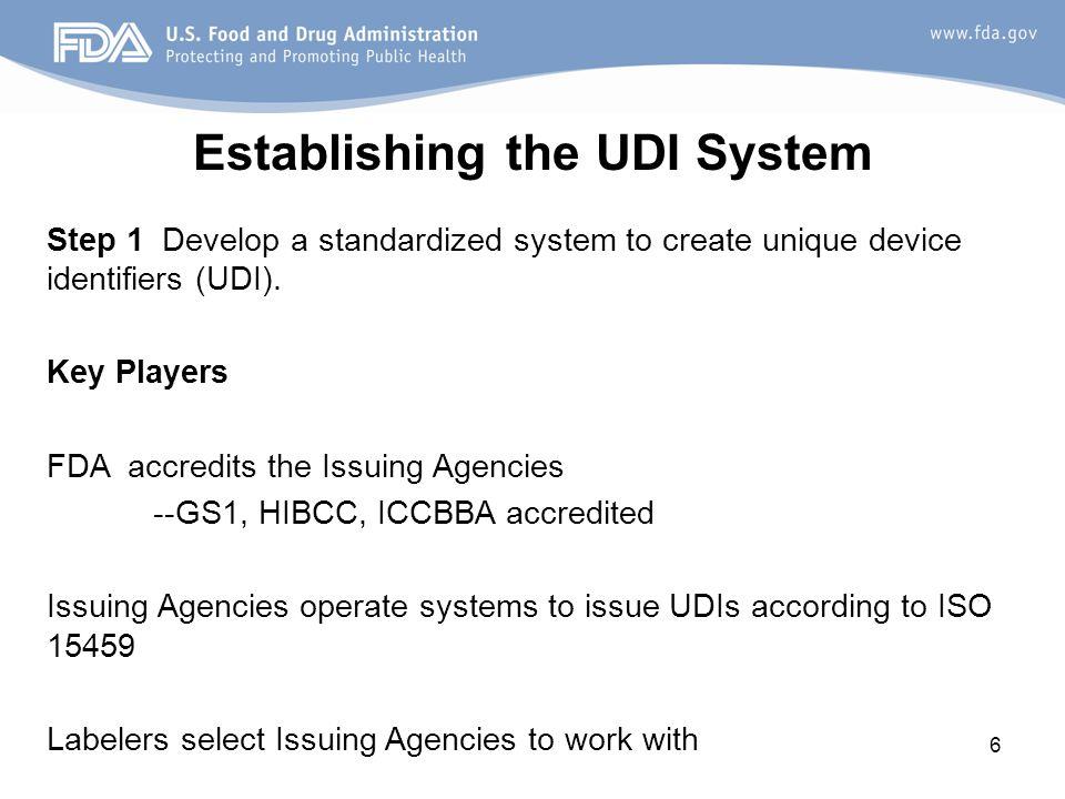 Establishing the UDI System