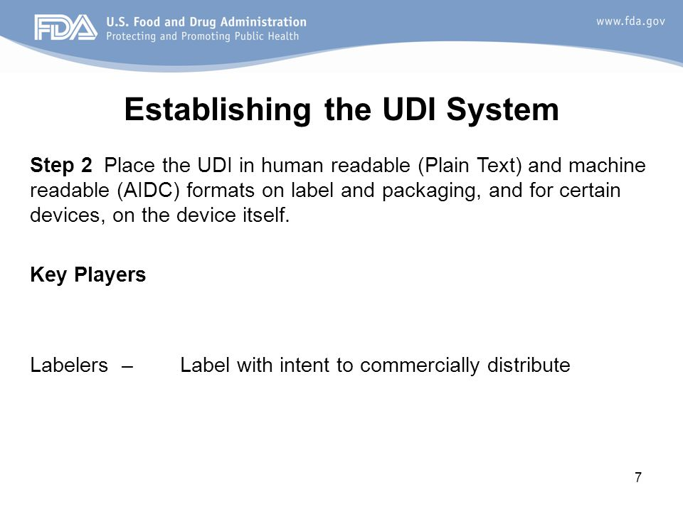 Establishing the UDI System