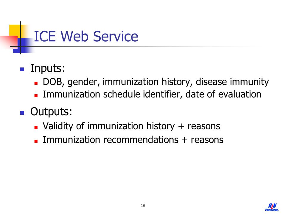 ICE Web Service Inputs: Outputs: