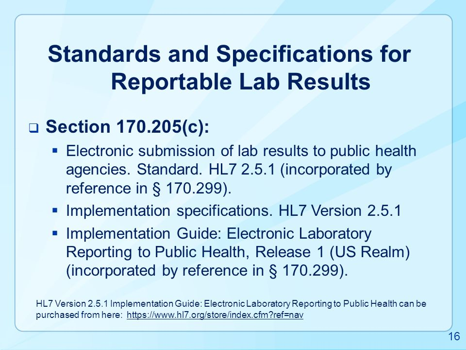 Standards and Specifications for Reportable Lab Results