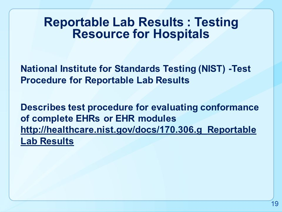Reportable Lab Results : Testing Resource for Hospitals