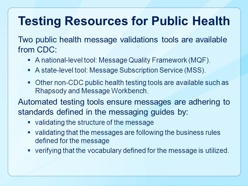 Testing Resources for Public Health
