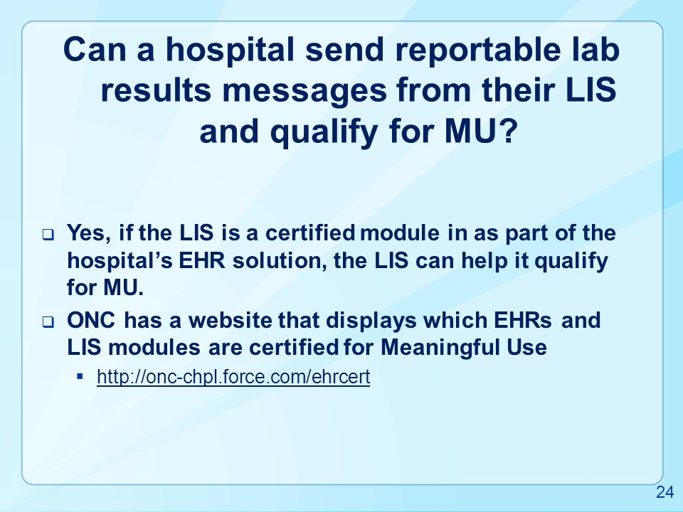 Can a hospital send reportable lab results messages from their LIS and qualify for MU
