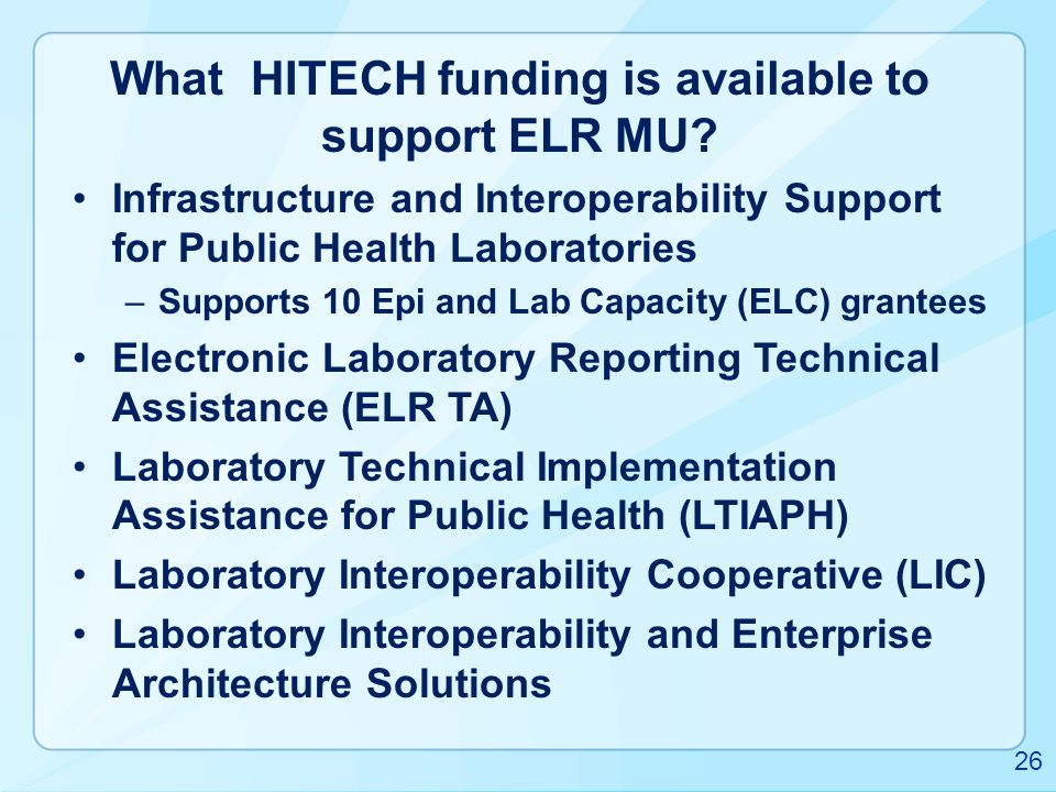 What HITECH funding is available to support ELR MU