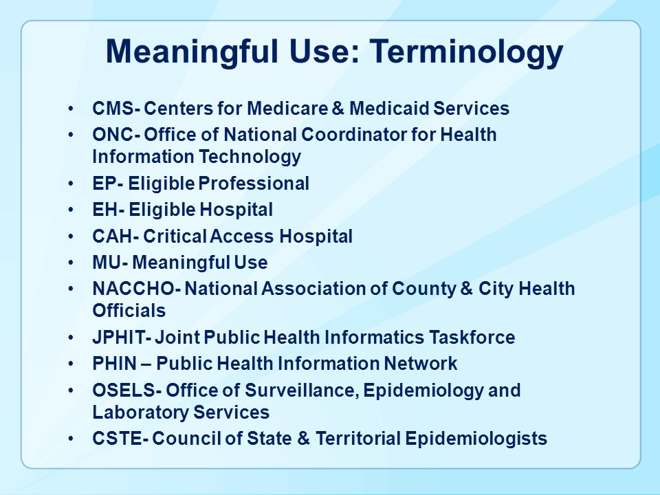 Meaningful Use: Terminology