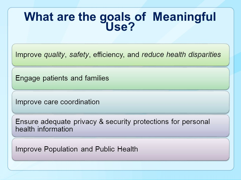 What are the goals of Meaningful Use