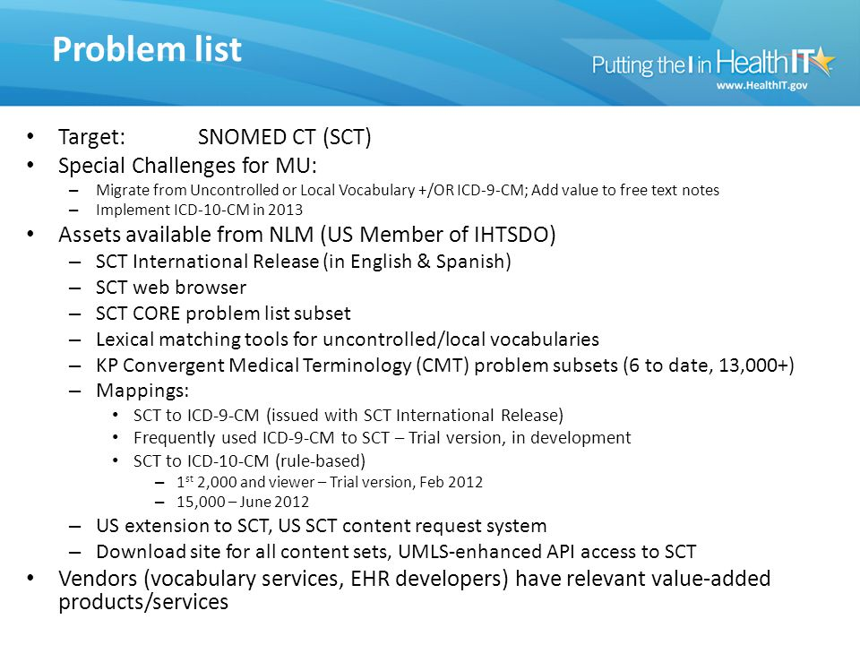 Problem list Target: SNOMED CT (SCT) Special Challenges for MU: