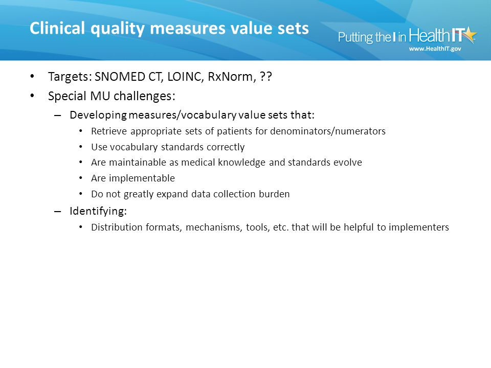 Clinical quality measures value sets