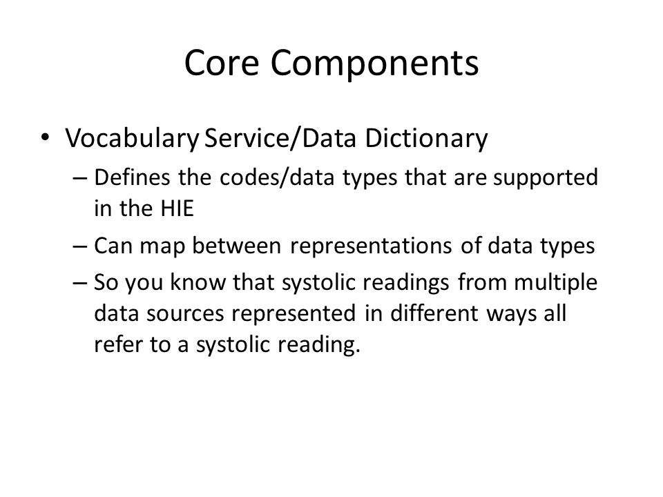 Core Components Vocabulary Service/Data Dictionary
