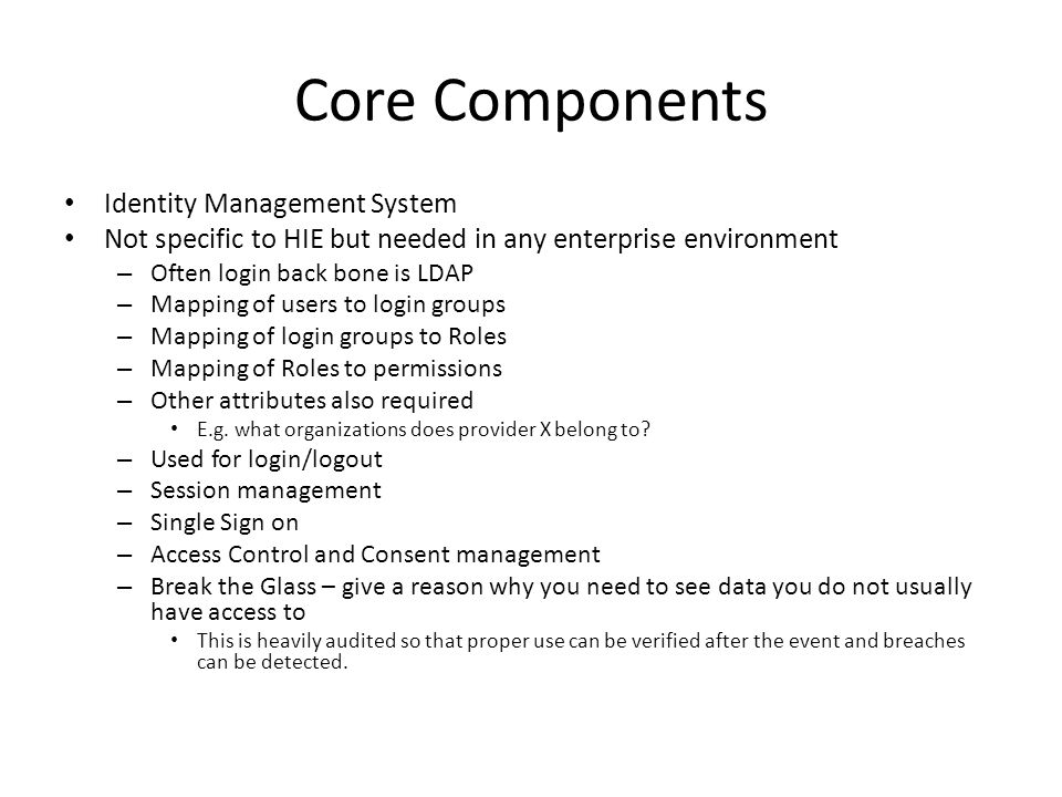 Core Components Identity Management System