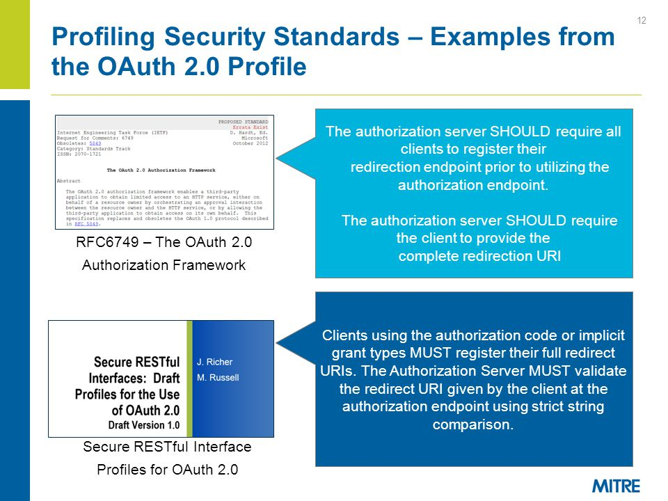 Profiling Security Standards – Examples from the OAuth 2.0 Profile