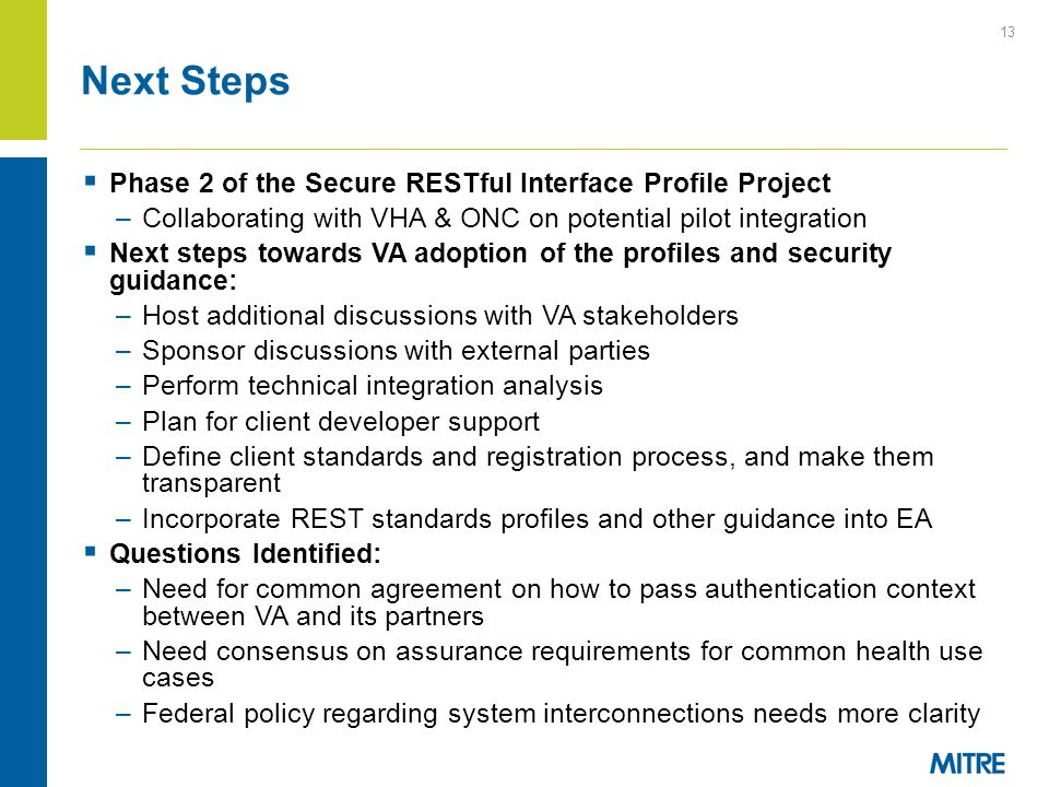 Next Steps Phase 2 of the Secure RESTful Interface Profile Project