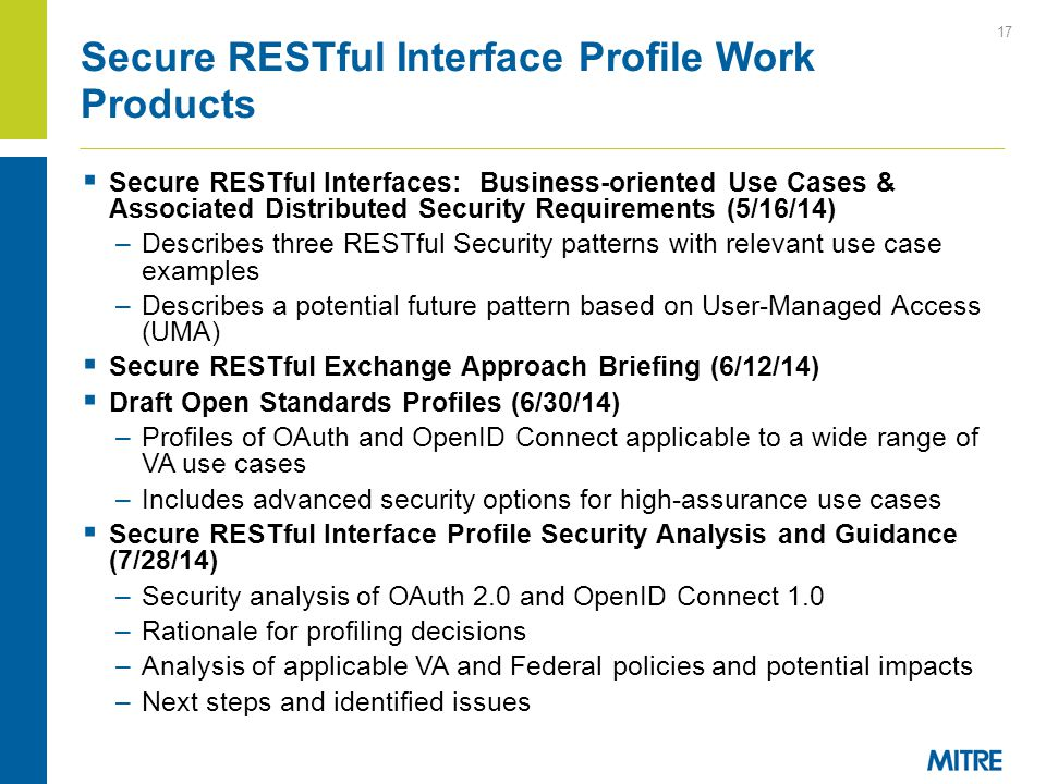 Secure RESTful Interface Profile Work Products