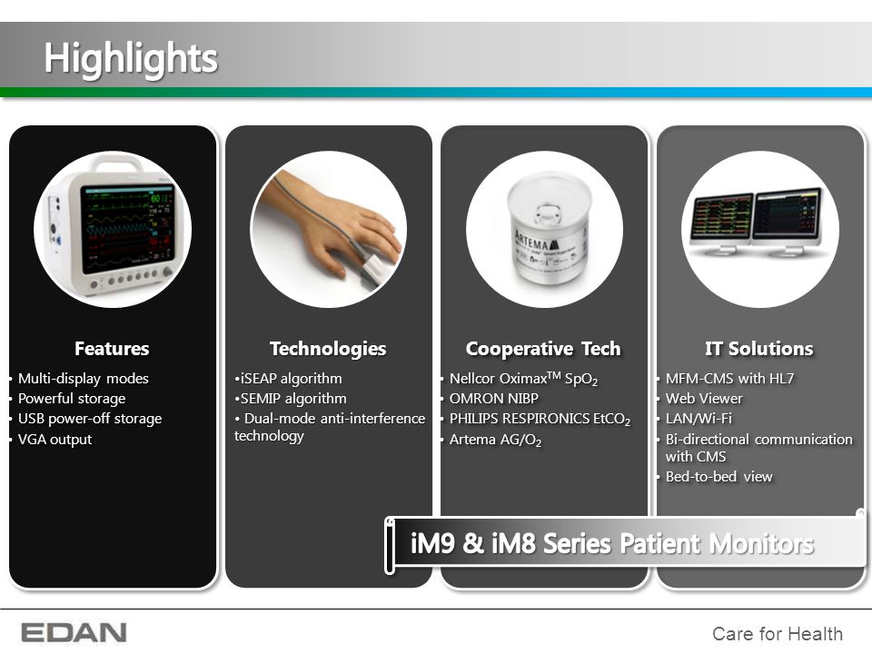 Highlights iM9 & iM8 Series Patient Monitors Features Technologies