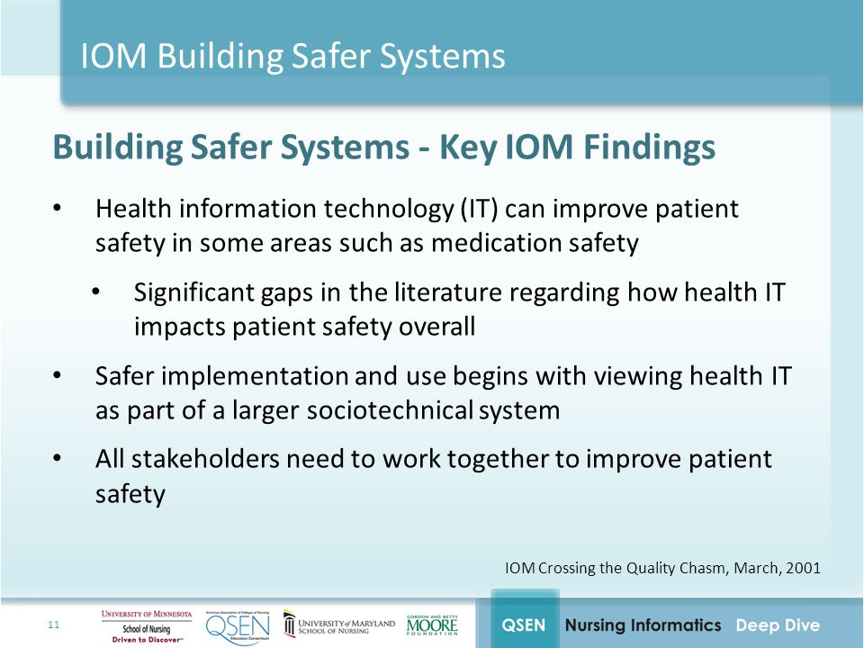IOM Building Safer Systems