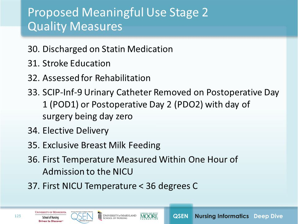 Proposed Meaningful Use Stage 2 Quality Measures