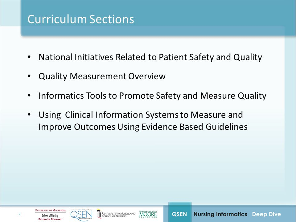 Curriculum Sections National Initiatives Related to Patient Safety and Quality. Quality Measurement Overview.