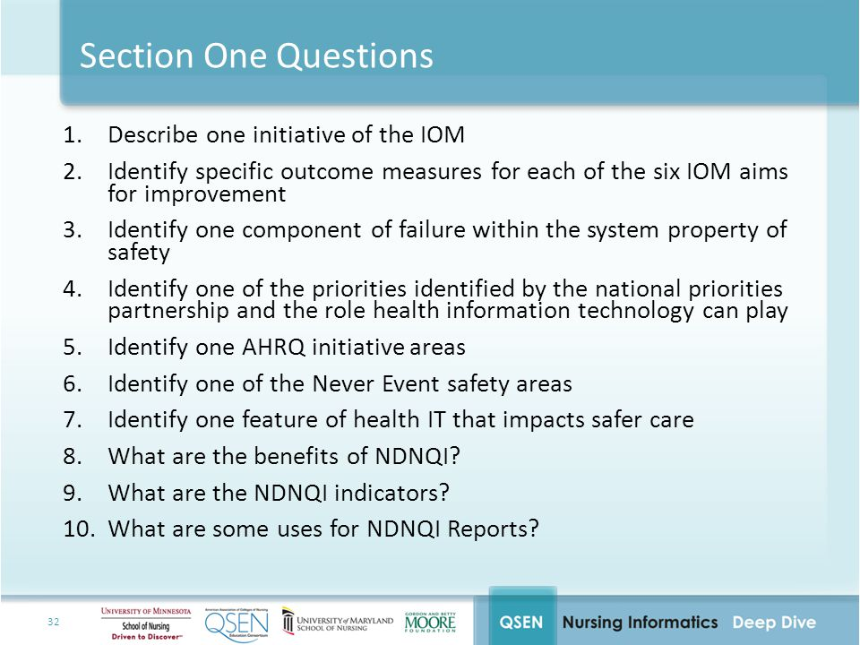 Section One Questions Describe one initiative of the IOM