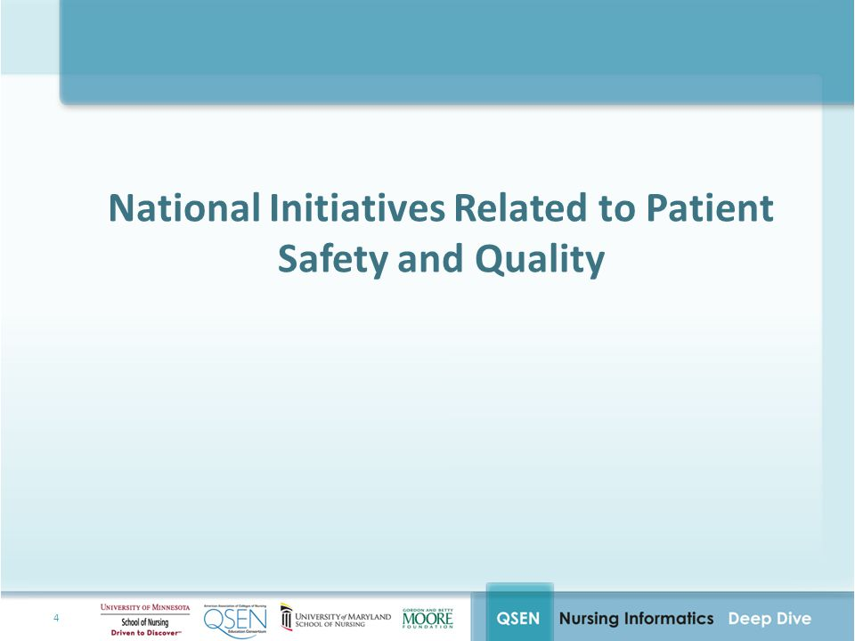National Initiatives Related to Patient Safety and Quality