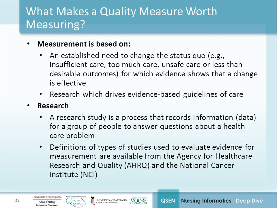 What Makes a Quality Measure Worth Measuring
