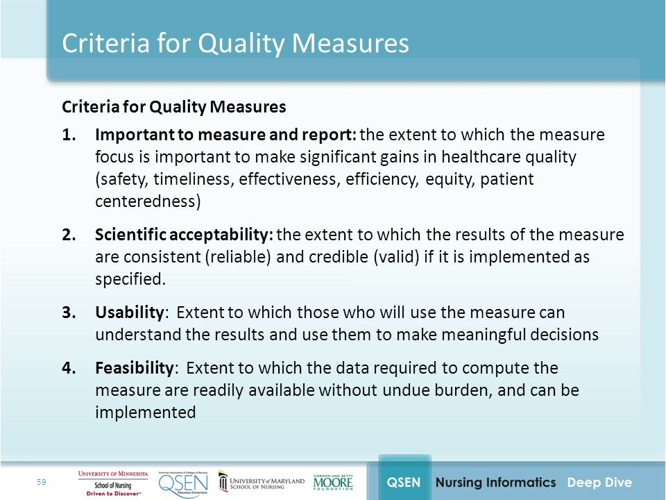 Criteria for Quality Measures